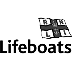 RNLI black and white lifeboats flag logo