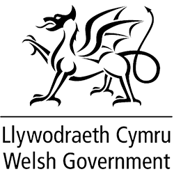 Welsh government black and white logo with dragon