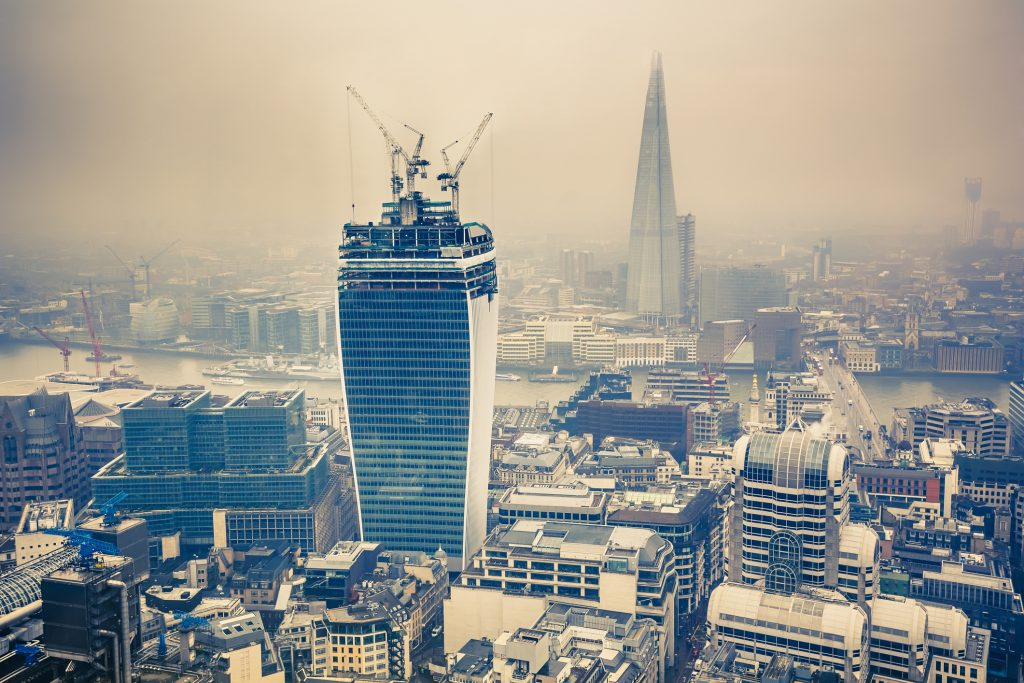 Aerial view of London at rainy day