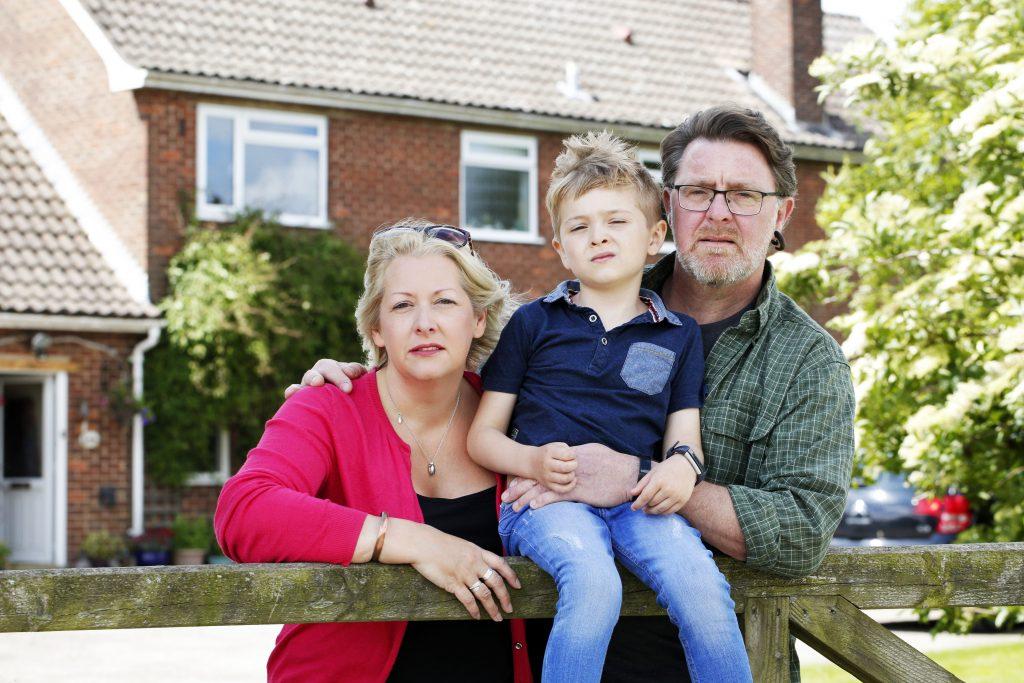 Bonita Barrett with husband Simon and 7-year old son Jamie at their home near Malton in North Yorkshire. Photograph: STUART BOULTON